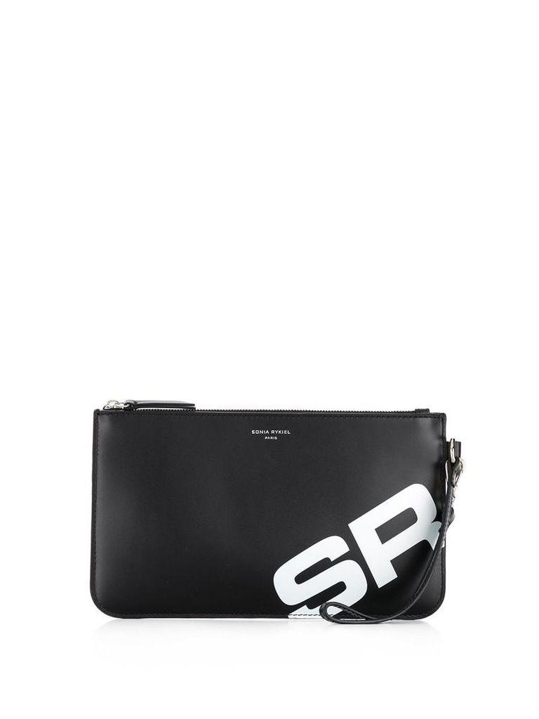 Sonia Rykiel initial print clutch bag - Black
