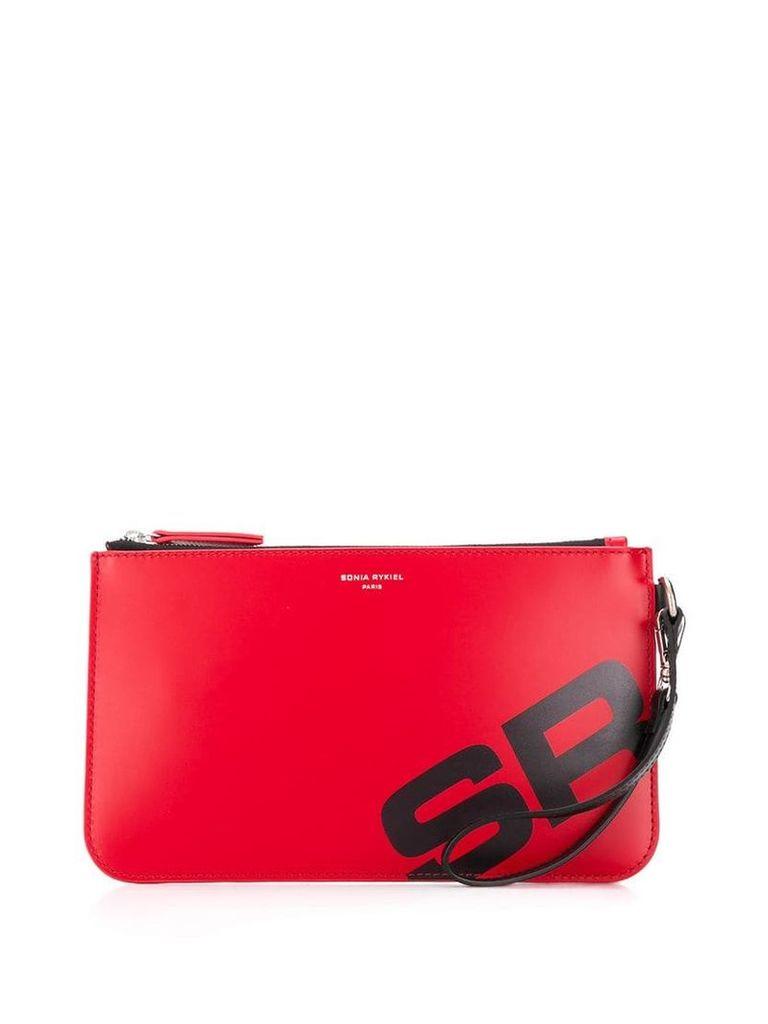 Sonia Rykiel logo clutch - Red