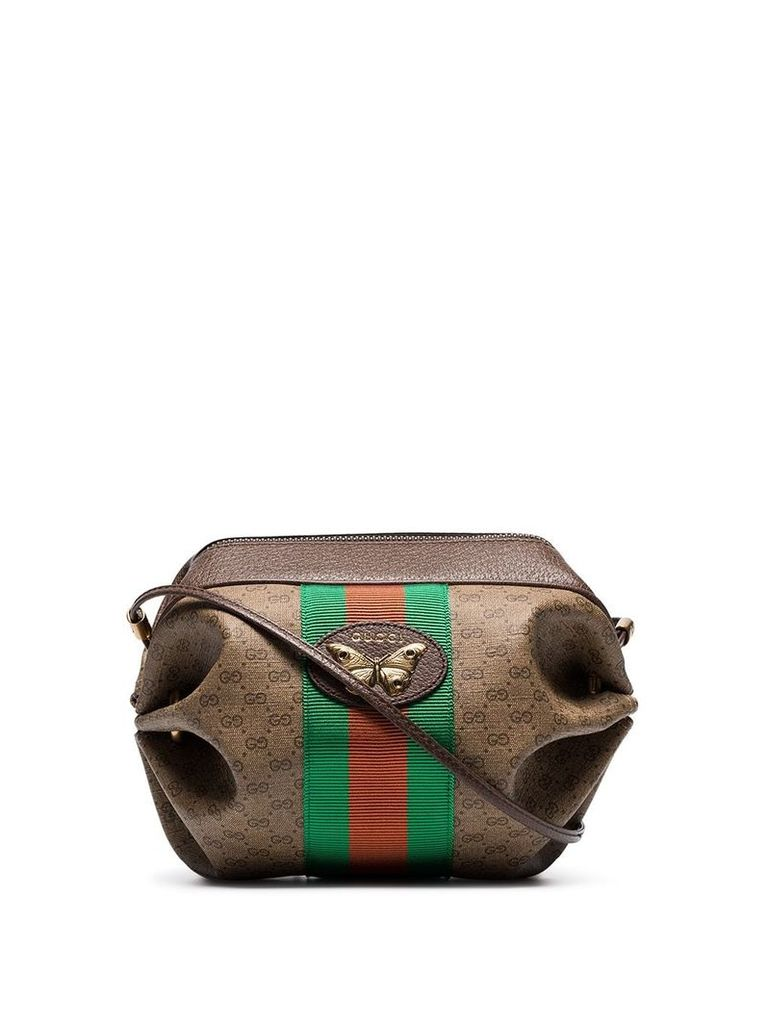 Gucci mini GG bag with Web and butterfly - Brown