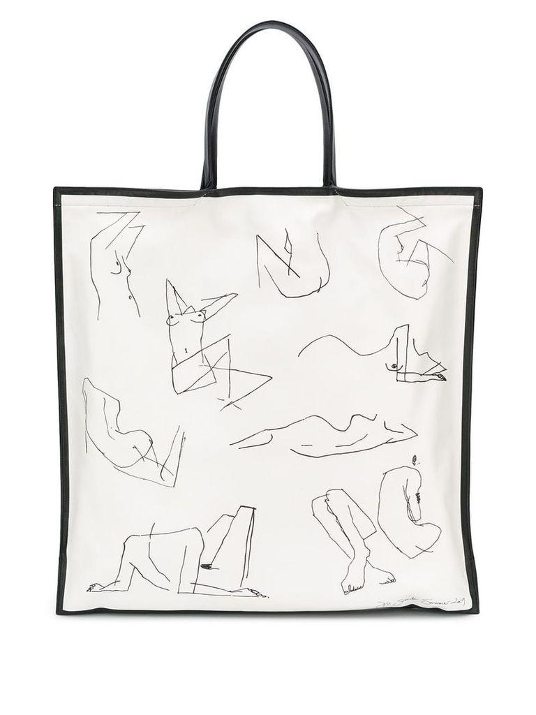 Jil Sander square tote bag - White