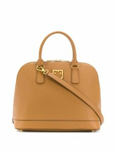 Furla logo plaque tote - Brown