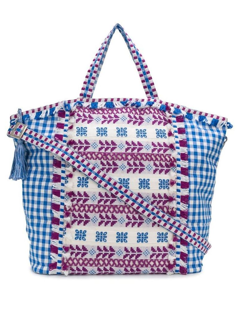 Dodo Bar Or oversized embroidered check tote - Blue