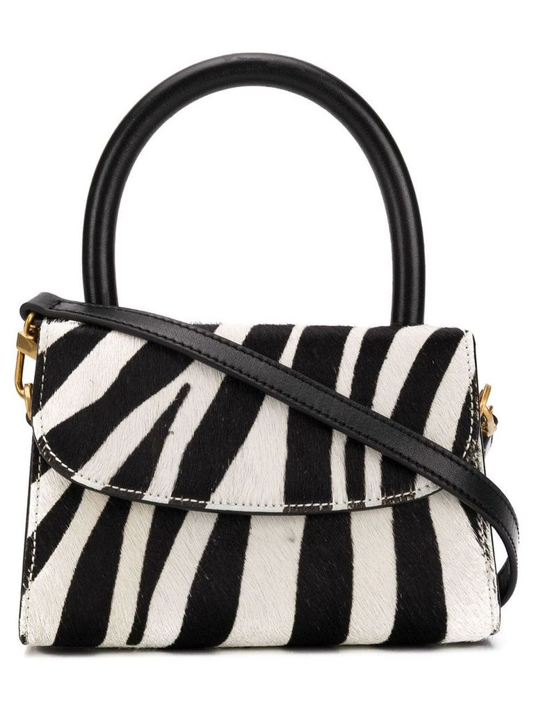 BY FAR zebra print mini tote bag - Black