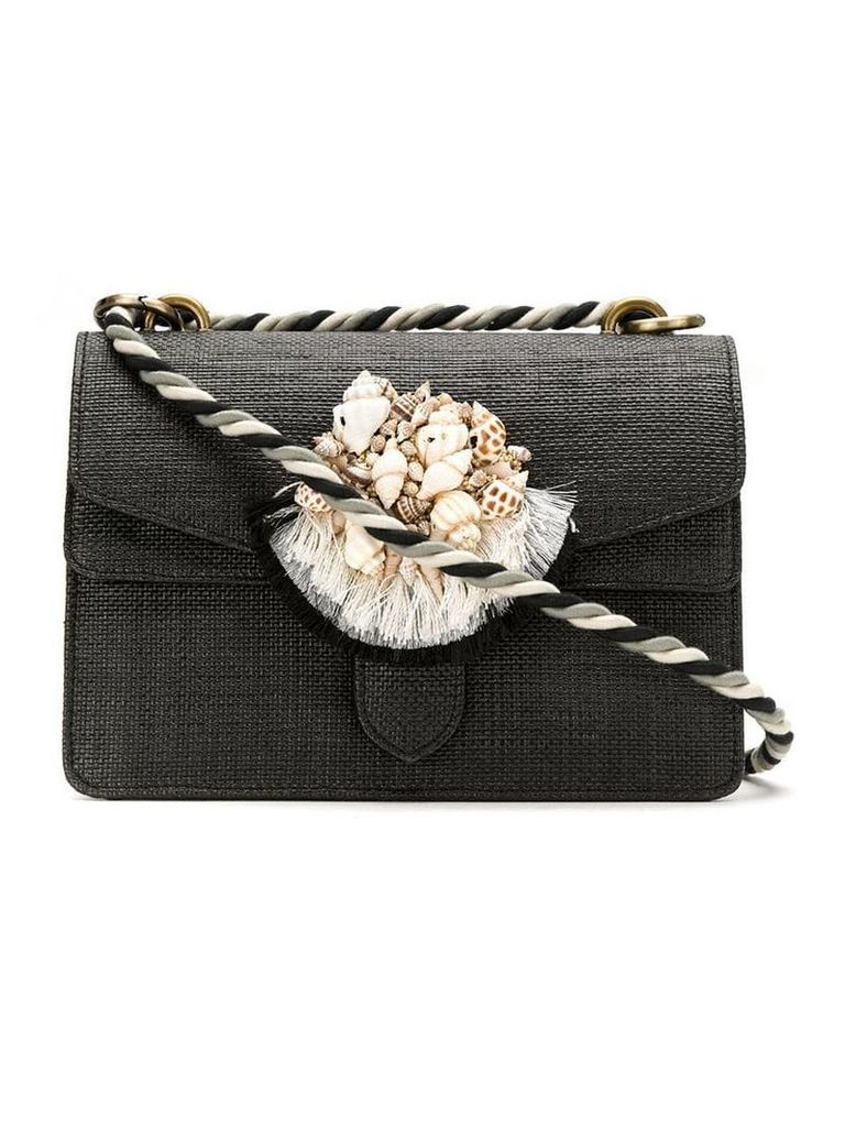 Isla mini appliqué shoulder bag - Black