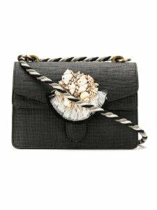 Isla mini appliqué shoulder bag - Black