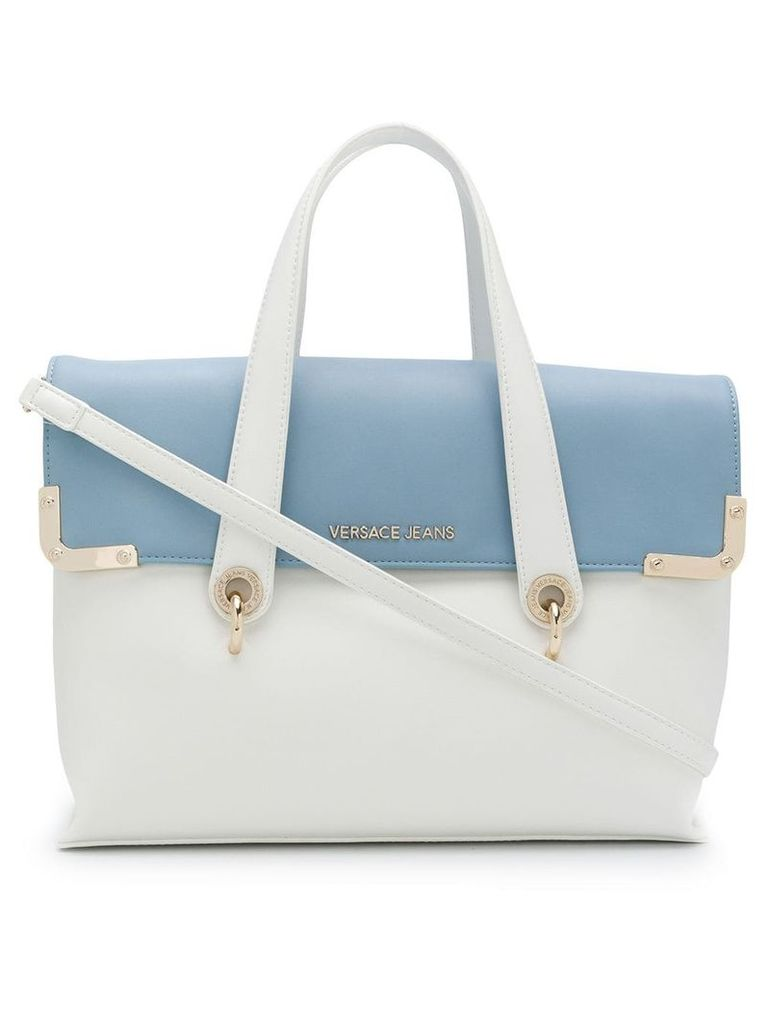 Versace Jeans bicolour satchel bag - White