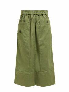 Sea - Patch Pocket Cotton Blend Midi Skirt - Womens - Khaki