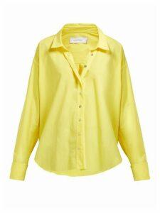 Marques'almeida - Cuff Ring Twisted Placket Cotton Poplin Shirt - Womens - Yellow