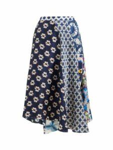 Biyan - Mariko Asymmetric Floral Print Silk Skirt - Womens - Navy Multi