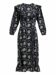 Sea - Tatiana Floral Print Cotton Midi Dress - Womens - Navy