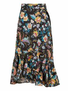 Etro - Cheshire Floral Print Cotton Wrap Midi Skirt - Womens - Black Multi