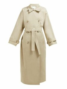 Raey - Batwing Split Back Cotton Trench Coat - Womens - Beige