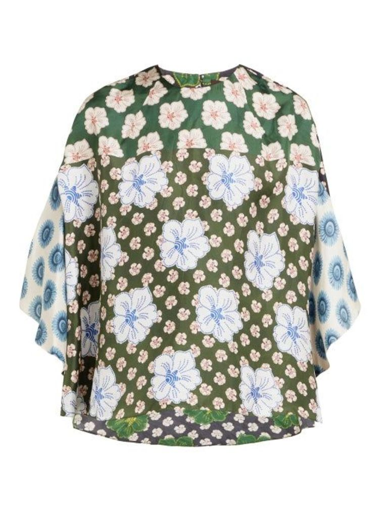 Biyan - Swan Floral Print Silk Blouse - Womens - Blue Multi