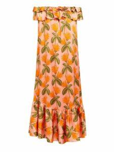 Borgo De Nor - Agata Floral Print Silk Satin Midi Dress - Womens - Orange Multi