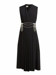 Gucci - Crystal Belt Pleated Cady Midi Dress - Womens - Black