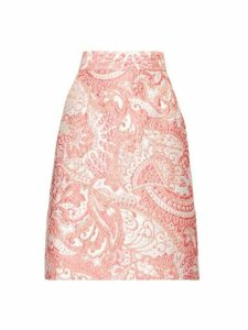 Dolce & Gabbana - A Line Floral Brocade Knee Length Skirt - Womens - Pink White
