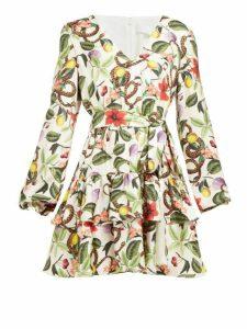 Borgo De Nor - Olivia Garden Print Silk Twill Mini Dress - Womens - White Multi
