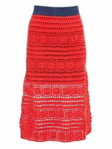 Staud - Marlin Cotton Crochet Midi Skirt - Womens - Red Multi