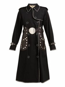 Burberry - Stud Embellished Cotton Gabardine Trench Coat - Womens - Black