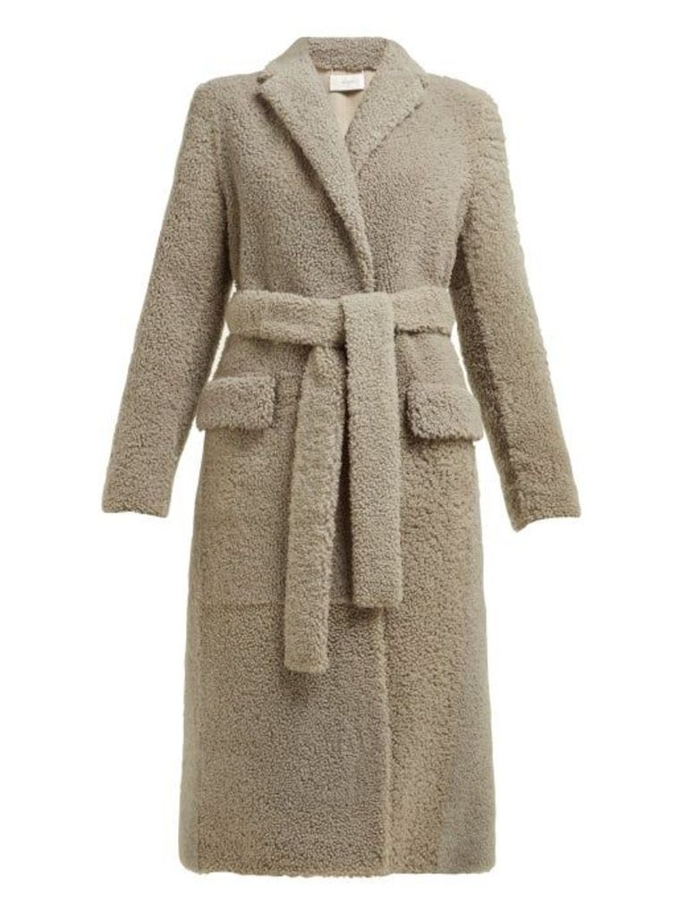 The Row - Muto Belted Shearling Coat - Womens - Light Grey