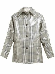 Kassl Editions - Checked Lacquered Single-breasted Coat - Womens - Grey Multi