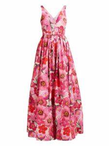 Borgo De Nor - Isabella Floral Print Cotton Blend Maxi Dress - Womens - Pink Multi