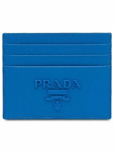 Prada Saffiano leather card holder - Blue