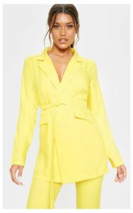 Yellow Tie Front Woven Blazer, Yellow