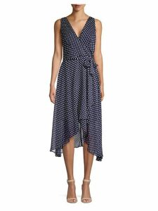Sleeveless Polka Dot High-Low Dress