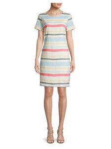 Striped Linen-Blend Sheath Dress