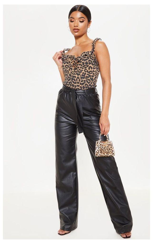 Brown Leopard Ruffle Trim Cami Top, Brown