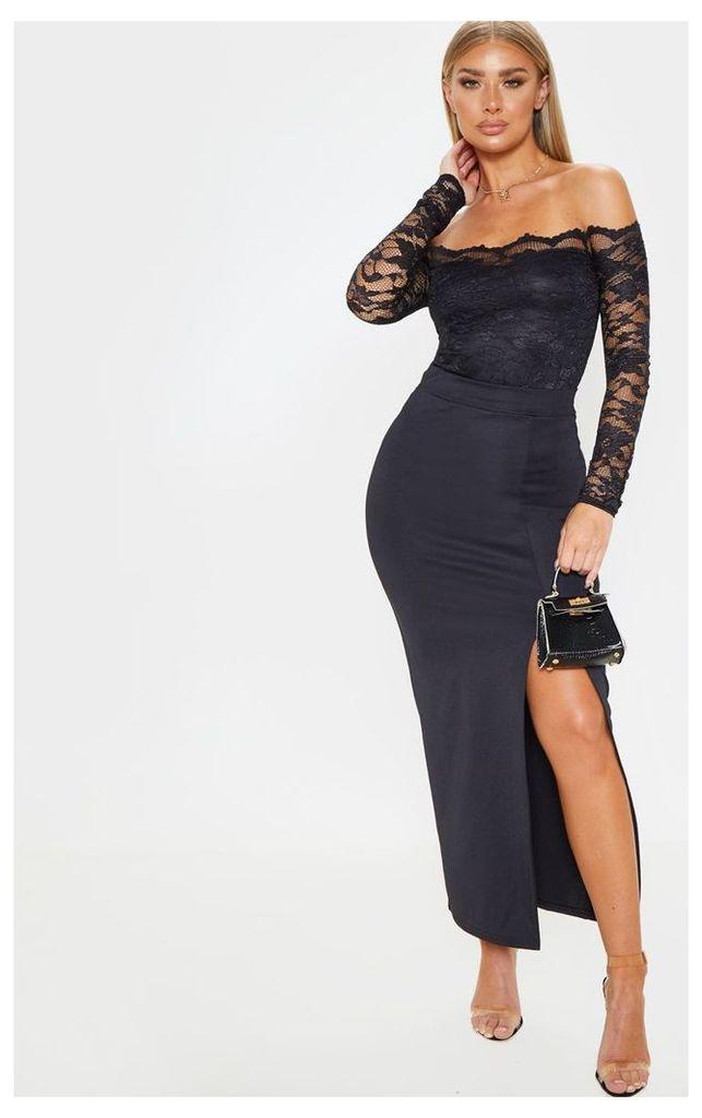 Black Lace Bardot Bodysuit, Black