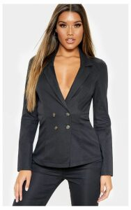Black Button Detail Woven Blazer, Black