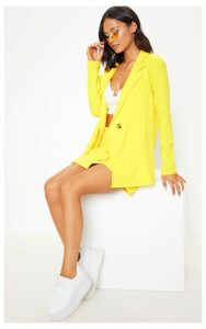 Yellow Button Detail Boyfriend Blazer, Yellow
