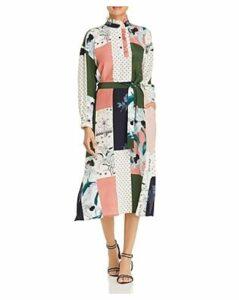 Tory Burch Patchwork Silk Shirt Dress