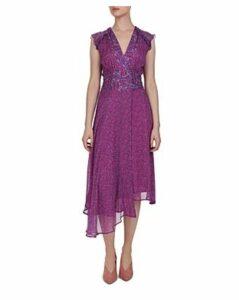 Ba & sh Meryl Asymmetric Botanical Print Dress