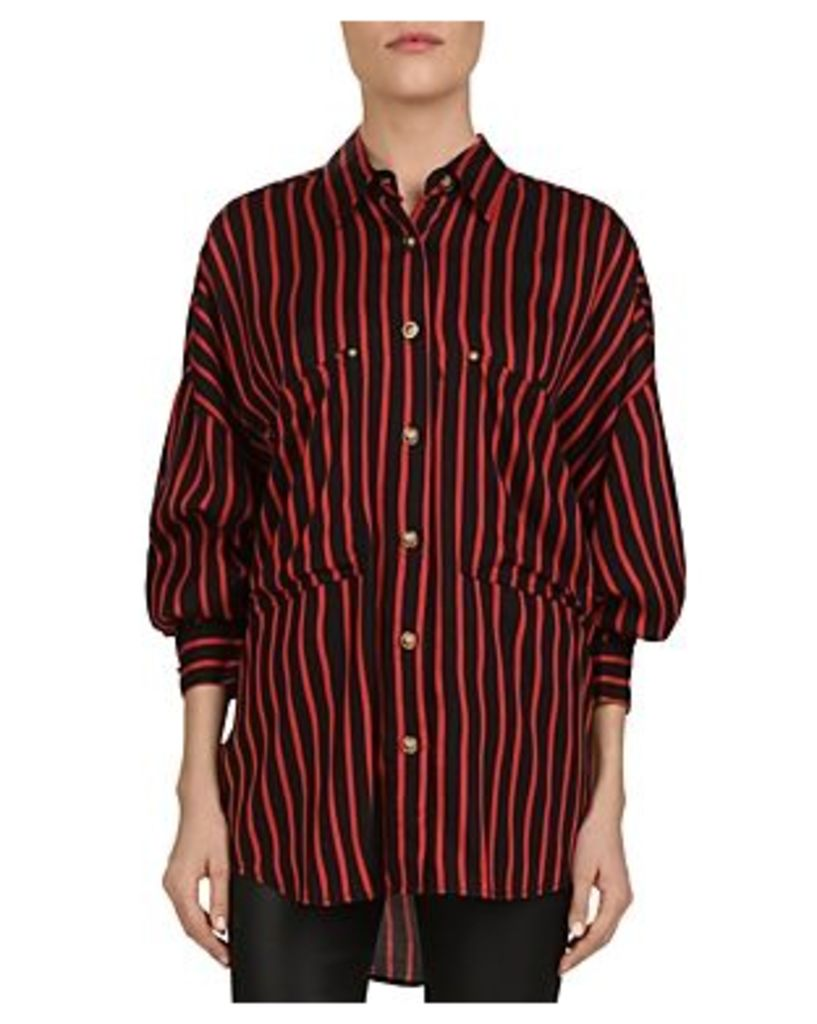 The Kooples Striped Puff-Sleeve Button-Down Shirt