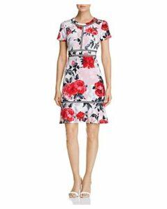 Karl Lagerfeld Paris Floral-Print Flounce-Hem Dress