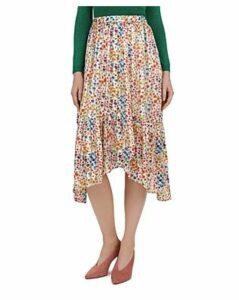 Ba & sh Romeo Asymmetric Floral Midi Skirt
