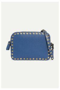 Valentino - Valentino Garavani The Rockstud Textured-leather Shoulder Bag - Blue