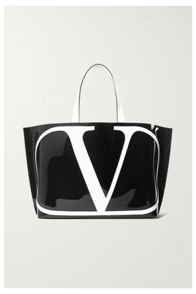 Valentino - Valentino Garavani Go Logo Beach Large Leather-trimmed Pvc Tote - Black