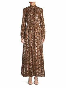 Abstract Pleated Long Blouson Dress