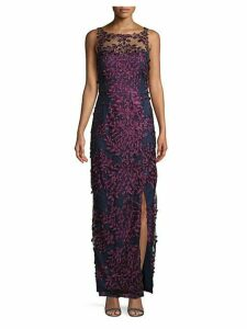 Embroidered Floral Mesh Gown