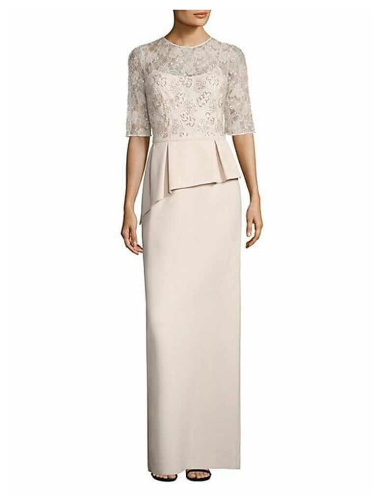 Embellished Lace Peplum Gown