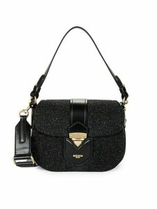 Glitter & Leather Convertible Crossbody Shoulder Bag