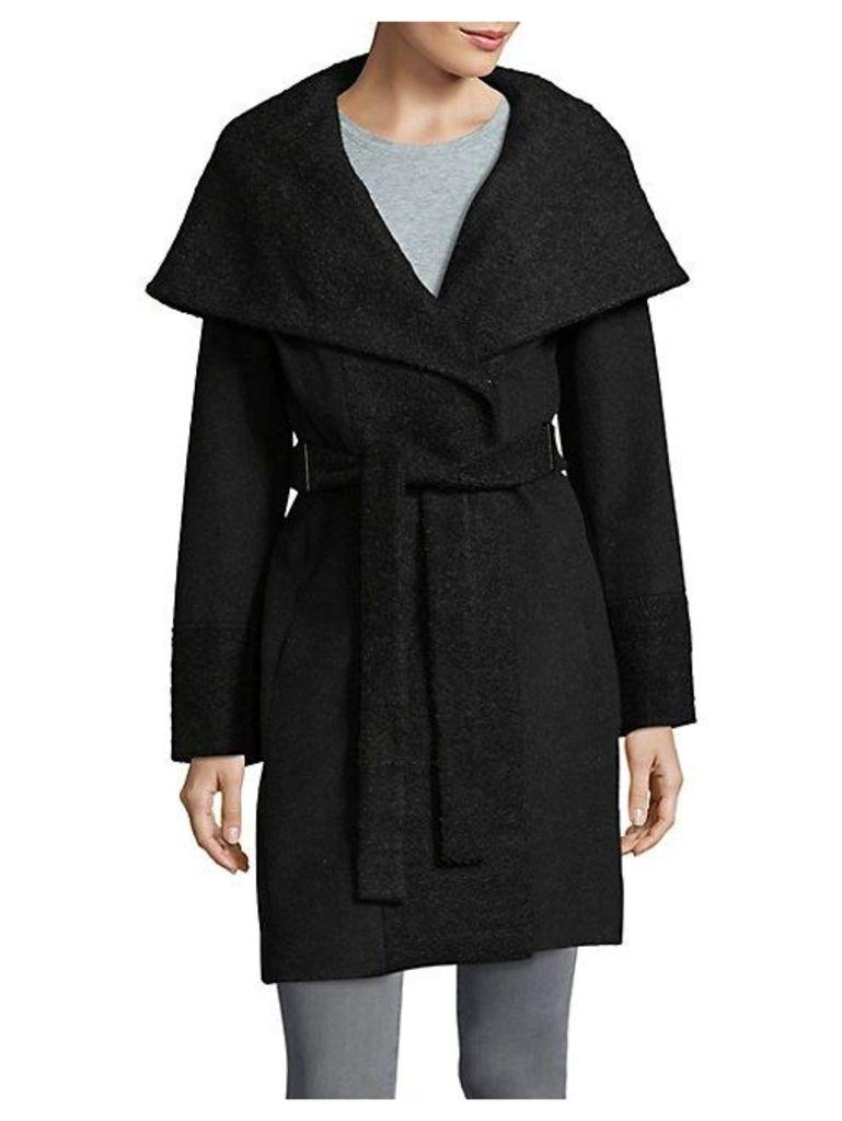 Wide-Lapel Wrap Coat