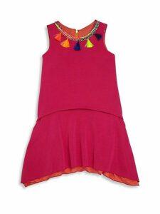 Girl's Layered Tassel Trim Dress