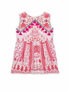 Girl's Printed Pom-Pom Dress