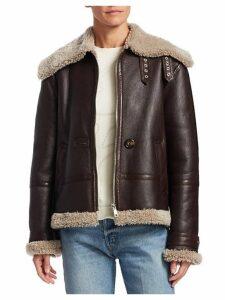 Shearling-Trim Leather Aviator Jacket