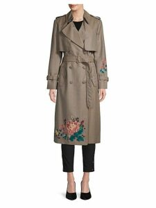 Floral Embroidered Wool Trench Coat
